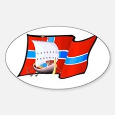 Norge Viking Ship Sticker (Oval)