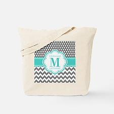 Personalized Polka Dots Chevron Gray Tote Bag