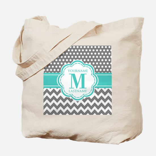Personalized Polka Dots Chevron Gray Tote Bag