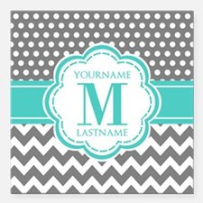 """Personalized Polka Dots Square Car Magnet 3"""" x 3"""""""