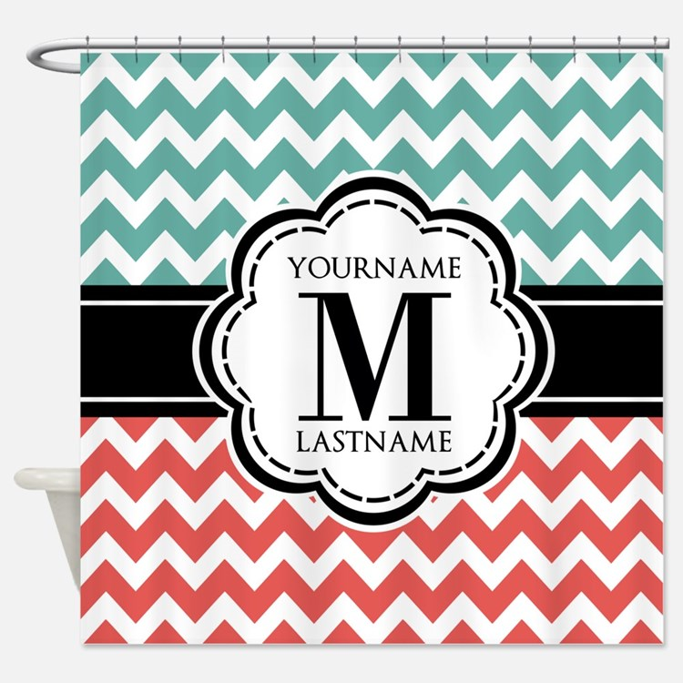 Teal and Coral Chevron with Custom Shower Curtain