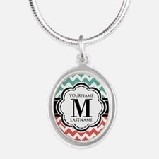 Teal and Coral Chevron with C Silver Oval Necklace