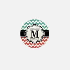 Teal and Coral Chevron with Custom Mon Mini Button