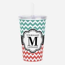 Teal and Coral Chevron Acrylic Double-wall Tumbler