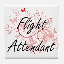 Flight Attendant Artistic Job Design Tile Coaster