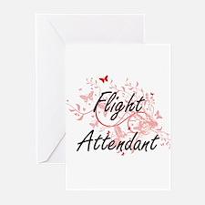 Flight Attendant Artistic Job Desig Greeting Cards