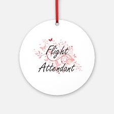 Flight Attendant Artistic Job Desig Round Ornament
