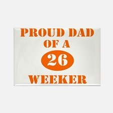 Proud Dad 26 Weeker Rectangle Magnet