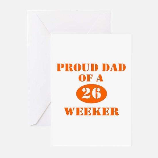 Proud Dad 26 Weeker Greeting Cards (Pk of 10)