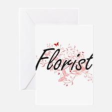 Florist Artistic Job Design with Bu Greeting Cards