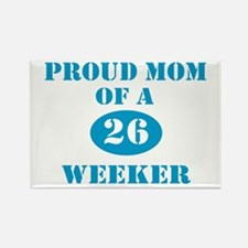 Proud Mom 26 Weeker Rectangle Magnet