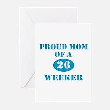 Proud Mom 26 Weeker Greeting Cards (Pk of 10)
