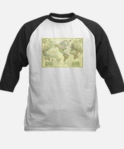 Vintage Map of The World (1922) 2 Baseball Jersey