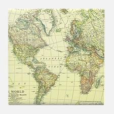 Vintage Map of The World (1922) 2 Tile Coaster