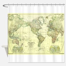 Vintage Map of The World (1922) 2 Shower Curtain