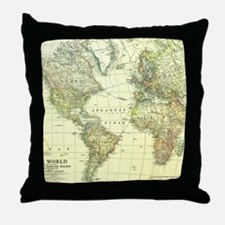 Vintage Map of The World (1922) 2 Throw Pillow