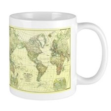 Vintage Map of The World (1922) 2 Mugs