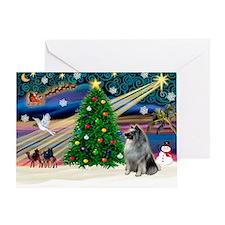 Xmas Magic & Keeshond Greeting Card