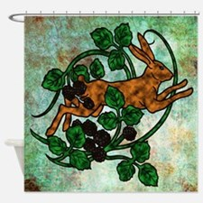 Hare and Blackberries Shower Curtain