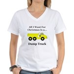 Christmas Dump Truck Women's V-Neck T-Shirt