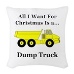 Christmas Dump Truck Woven Throw Pillow