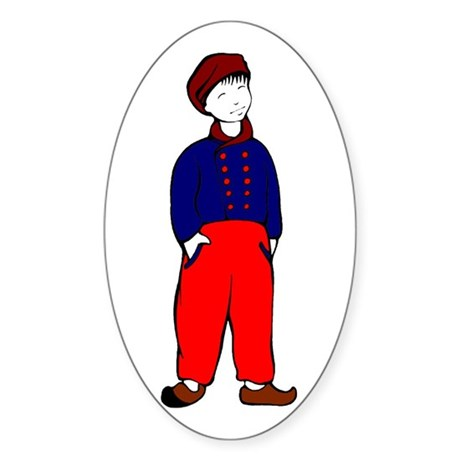 Dutch Boy in Clogs Sticker (Oval)