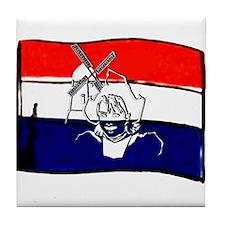Dutch flag with sketch Tile Coaster