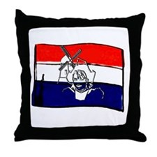 Dutch flag with sketch Throw Pillow