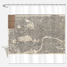 Vintage Map of London England (1899 Shower Curtain