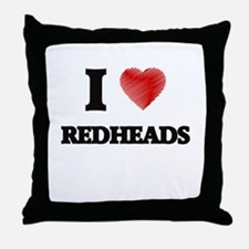 I Love Redheads Throw Pillow