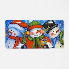 3 Happy Snowmen Aluminum License Plate