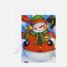 3 Happy Snowmen Greeting Cards