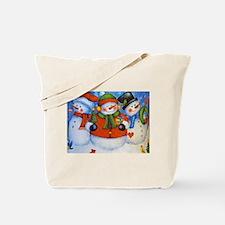 3 Happy Snowmen Tote Bag