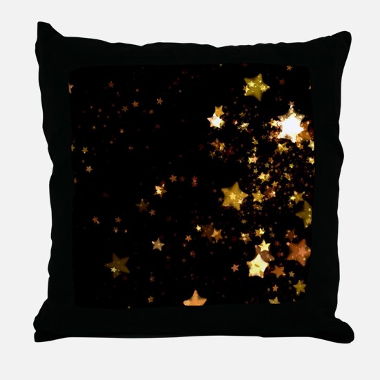 black gold stars Throw Pillow