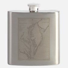 Vintage Map of The Chesapeake Bay (1893) Flask