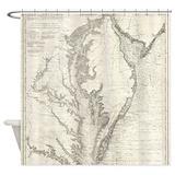 Chesapeake bay map Shower Curtains