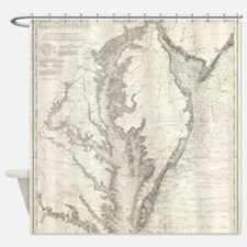 Vintage Map of The Chesapeake Bay ( Shower Curtain