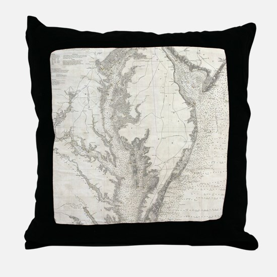 Vintage Map of The Chesapeake Bay (18 Throw Pillow