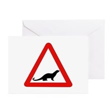 Caution Otters, UK Greeting Cards (Pk of 10)