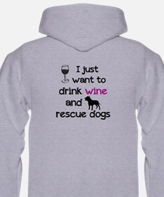 Drink Wine And Rescue Dogs Mens Hoodie