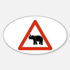 Beware of Elephants, Cambodia Oval Decal