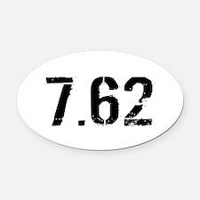 7.62 Ammo: Black & White Oval Car Magnet