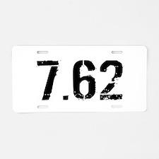 7.62 Ammo: Black & White Aluminum License Plate