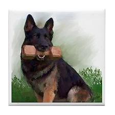 German Shepherd Mic Tile Coaster