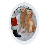 Golden retriever christmas Oval Ornaments