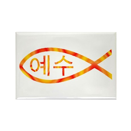 Korean Jesus Fish Rectangle Magnet