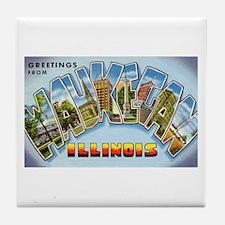 Waukegan Illinois Greetings Tile Coaster