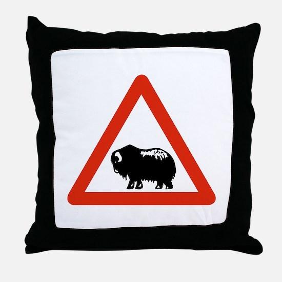 Caution Musk Oxen, Greenland Throw Pillow