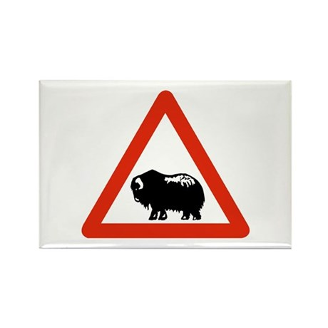 Caution Musk Oxen, Greenland Rectangle Magnet (10