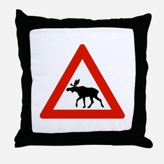 Caution Elks, Norway Throw Pillow
